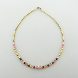 #12041 - Gold Filled Necklace With Swarovski Crystal - Jet & Rose