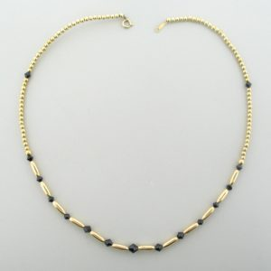 #12042 - Gold Filled Necklace With Swarovski Crystal - Jet
