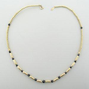 #12042 - Gold Filled Necklace With Swarovski Crystal - Jet