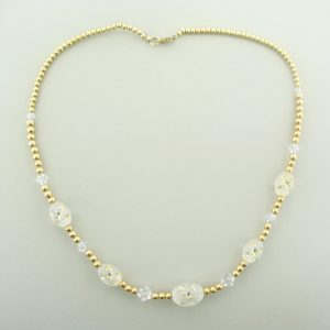 #12044 - Gold Filled Necklace With Star & Swarovski Crystal Beads