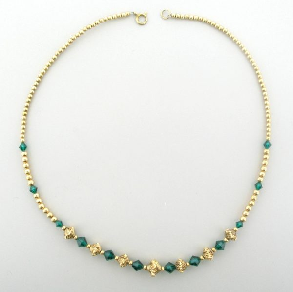 #12034 - Gold Filled Necklace With Swarovski Crystal - Emerald