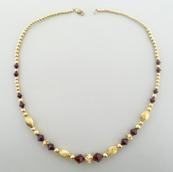 #12037 - Gold Filled Necklace With Swarovski Crystal - Siam