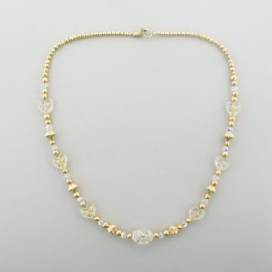 #12038 - Gold Filled Necklace With Swarovski Crystal & Star Beads