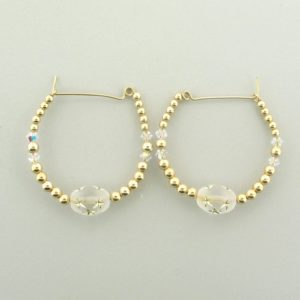 #12018 - Gold Filled Earring With Swarovski Crystal and Star Beads