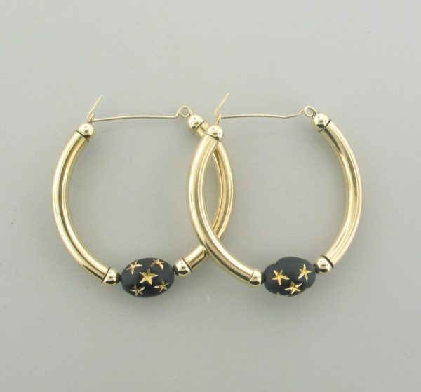 #12019 - Gold Filled Earring With Black Star Beads