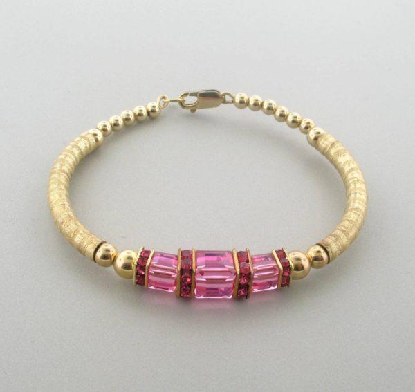 12046 - 14K Gold filled Bangle Bracelet With Swarovski Crystal