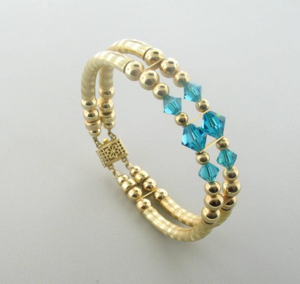 12048 - 14K Gold filled Bangle Bracelet With Swarovski Crystal