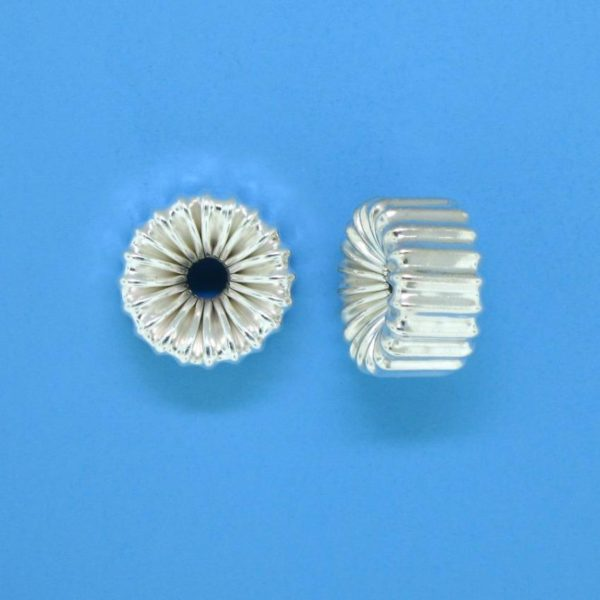 1213 - 12mm Sterling Silver Straight Corrugated Rondelle