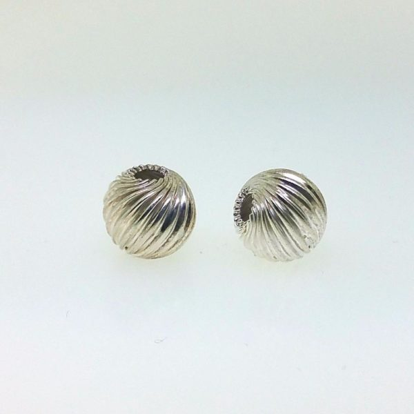 585 - 5mm Sterling Silver Twisted Corrugated Round Bead