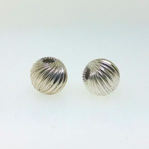 586 - 6mm Sterling Silver Twisted Corrugated Round Bead