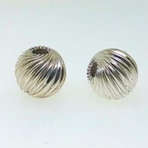 589 - 9mm Sterling Silver Twisted Corrugated Round Bead