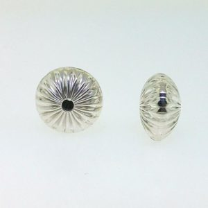 1228 - 10mm Sterling Silver Straight Corrugated Round Saucer Bead