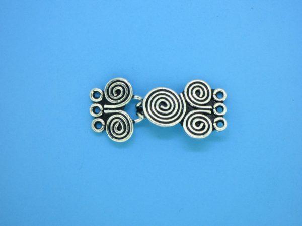 15444 - Bali Silver 3 Strands Clasp 14x30mm