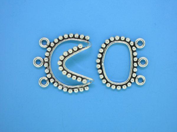 15452 - Bali Silver 3 Strands Clasp 22x31mm