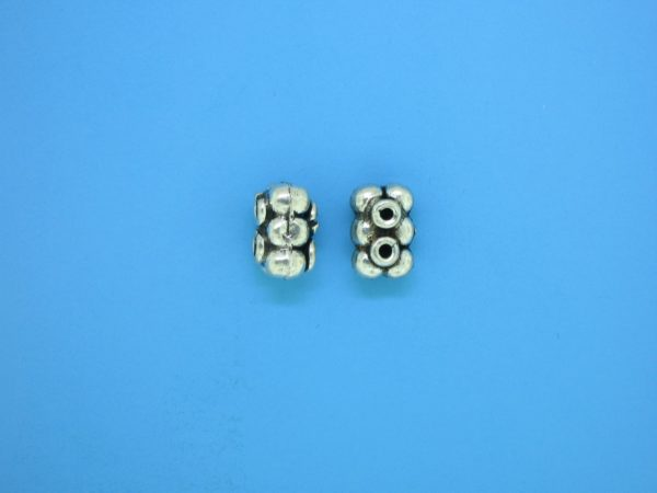15570 - Bali Silver 2 Hole Spacer Bead 6x10mm