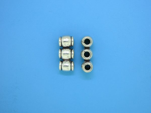 15573 - Bali Silver 3 Hole Spacer Bead 7x15mm