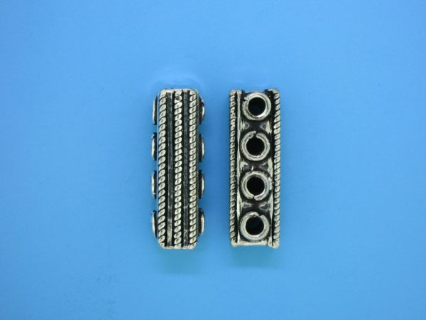 15587 - Bali Silver 4 Hole Spacer Bar 24mm