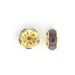 3605 - 5mm  Swarovski Rhinestone Gold Plated Rondelle - Amethyst