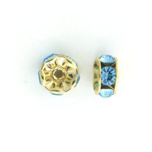 3605 - 5mm  Swarovski Rhinestone Gold Plated Rondelle - Aquamarine