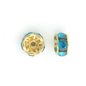 3605 - 5mm  Swarovski Rhinestone Gold Plated Rondelle - Blue Zircon
