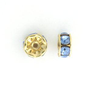 3605 - 5mm  Swarovski Rhinestone Gold Plated Rondelle - Light Sapphire