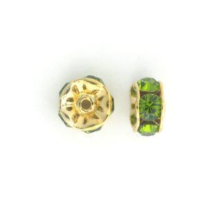 3605 - 5mm  Swarovski Rhinestone Gold Plated Rondelle - Olivine
