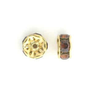 3605 - 5mm  Swarovski Rhinestone Gold Plated Rondelle - Smoked Topaz