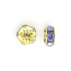 3605 - 5mm  Swarovski Rhinestone Gold Plated Rondelle - Tanzanite