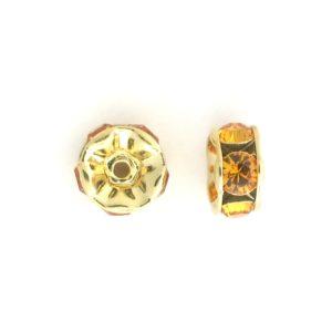 3605 - 5mm  Swarovski Rhinestone Gold Plated Rondelle - Topaz