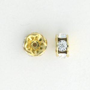 3605 - 5mm  Swarovski Rhinestone Gold Plated Rondelle - Crystal