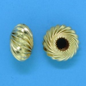 94 - 5X9mm Gold Filled Twisted Corrugated Round Saucer Bead (Rondelle)