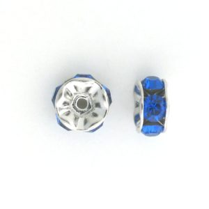 3605S - 5mm  Swarovski Rhinestone Silver Plated Rondelle - Capri Blue