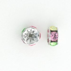 3605S - 5mm  Swarovski Rhinestone Silver Plated Rondelle - Light Multi