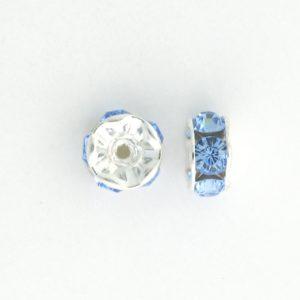 3605S - 5mm  Swarovski Rhinestone Silver Plated Rondelle - Light Sapphire