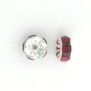 3605S - 5mm  Swarovski Rhinestone Silver Plated Rondelle - Ruby