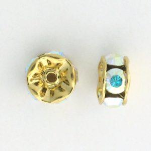 3610 - 10mm Swarovski Rhinestone Gold Plated Rondelle - Crystal AB