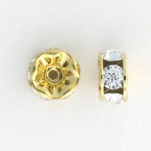 3610 - 10mm  Swarovski Rhinestone Gold Plated Rondelle - Crystal