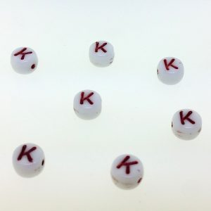 9011RW - 6mm Red and White Alphabet - K