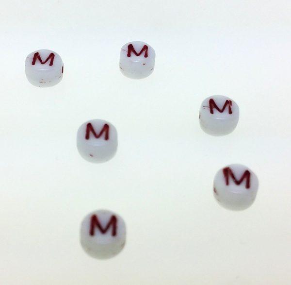 9011RW - 6mm Red and White Alphabet - M