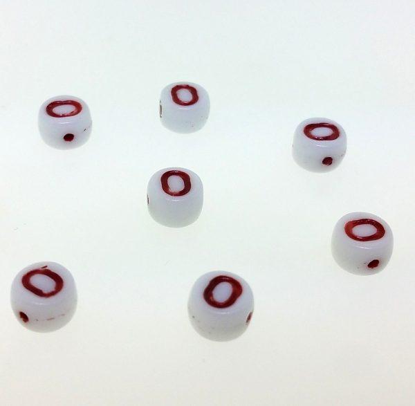 9011RW - 6mm Red and White Alphabet - O
