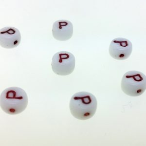 9011RW - 6mm Red and White Alphabet - P