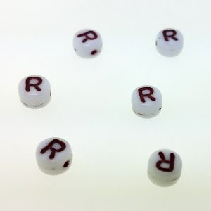9011RW - 6mm Red and White Alphabet - R