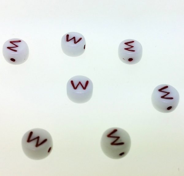 9011RW - 6mm Red and White Alphabet - W
