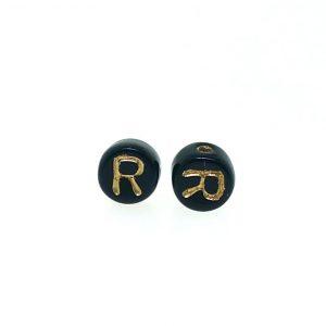9011GB - 6mm Gold and Black Alphabet - R