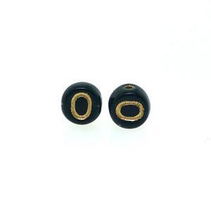 9011GB - 6mm Gold and Black Alphabet - O
