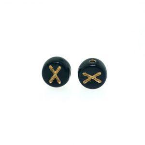 9011GB - 6mm Gold and Black Alphabet - X