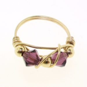 12102 - Gold Filled Ring With Swarovski Crystal - Amethyst