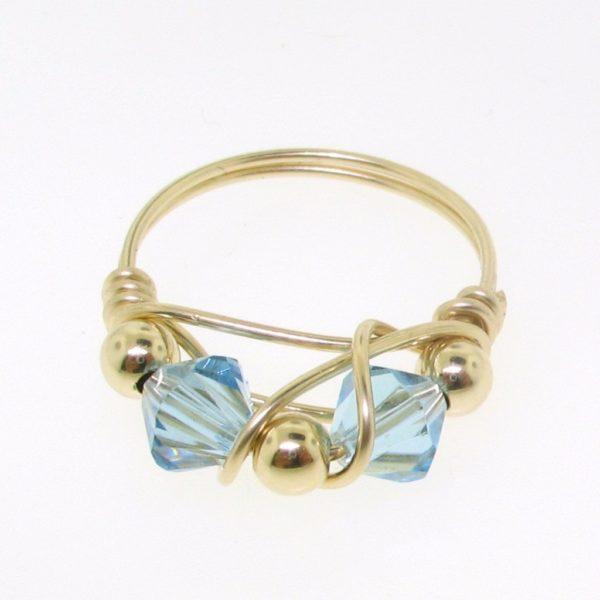 12103 - Gold Filled Ring With Swarovski Crystal - Aquamarine