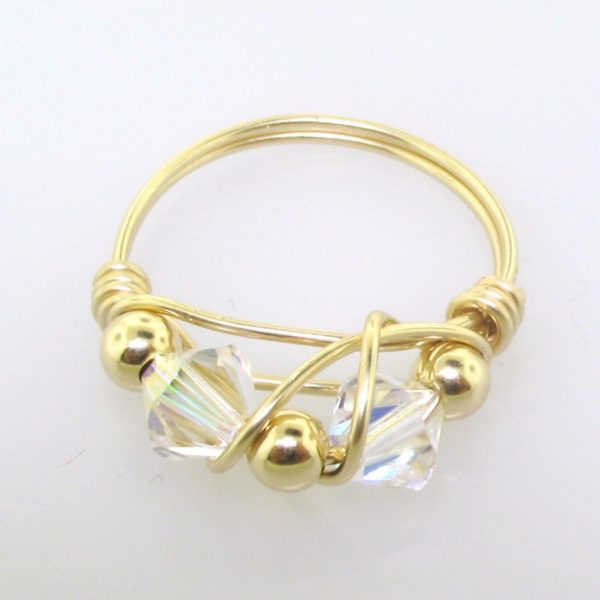 12104 - Gold Filled Ring With Swarovski Crystal - Crystal AB