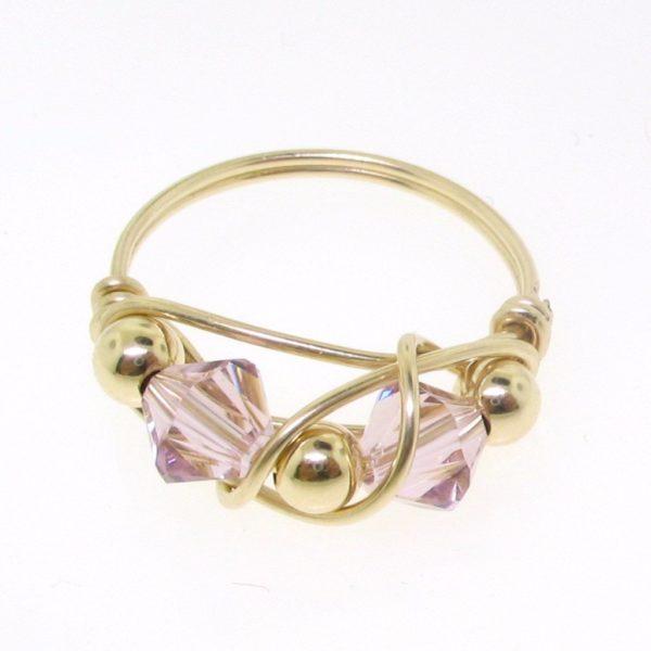 12106 - Gold Filled Ring With Swarovski Crystal - Light Amethyst